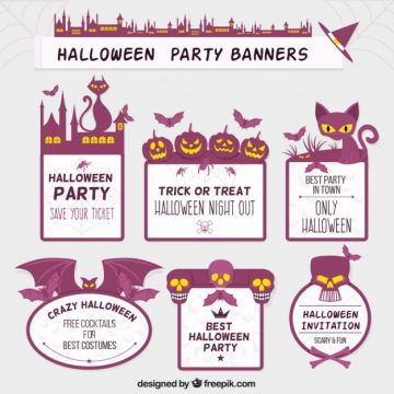 Free vector Purple halloween labels #25999