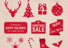 Free vector Red christmas elements in vintage style #26299