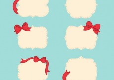 Free vector Retro badges with red ribbons #25721