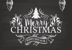 Free vector retro christmas card in blackboard style #26820