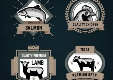 Free vector Retro collection of animal badges #27623