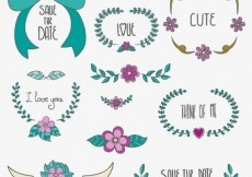 Free vector Save the Date floral ornaments #22525
