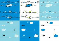 Free vector Set Silhouette of Birds on Wires #25298