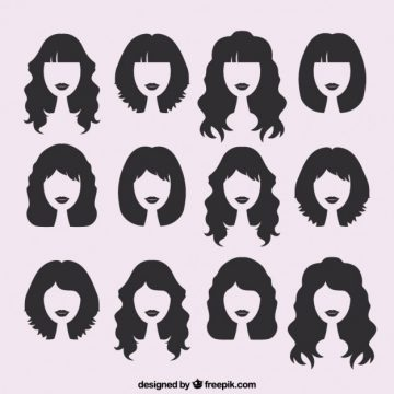 Free vector Silhouettes of female haircuts  #22489