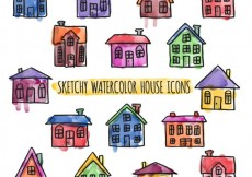 Free vector Sketchy watercolor houses #24654