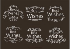 Free vector Swirl Best Wishes Ornament Vectors #27666
