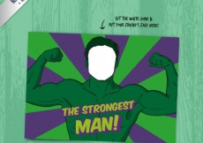 Free vector the strongest man card #25397