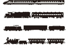 Free vector Trains silhouette collection #20666