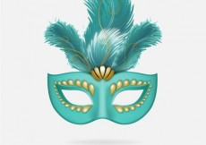 Free vector Turquoise carnival mask with feathers #21644