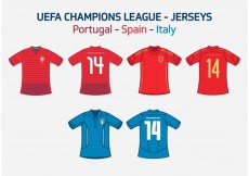 Free vector UEFA Team Jerseys Portugal Spain Italy Vector Free #23790