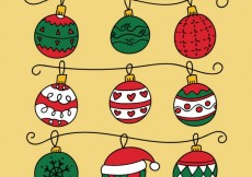 Free vector Variety of christmas balls in hand drawn style #25223