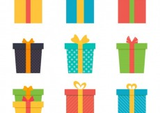 Free vector variety of colored gifts #25607