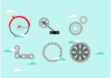 Free vector Vector Bicycle Parts in the Sky #22119