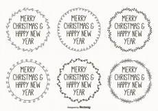 Free vector Cute Hand Drawn Style Christmas Labels #24505