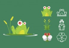 Free vector Green Tree Frog Icon Set #20673
