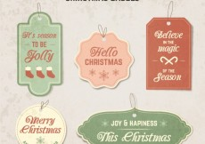 Free vector Vintage christmas labels #26301