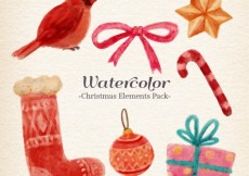 Free vector Watercolor christmas element pack #25415