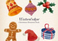 Free vector Watercolor christmas elements pack #25413