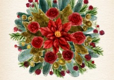 Free vector Watercolor christmas floral #25417