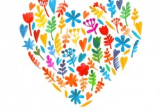 Free vector Watercolor flowers in heart shaped #22401