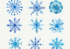 Free vector Watercolor set of christmas snowflakes #27816