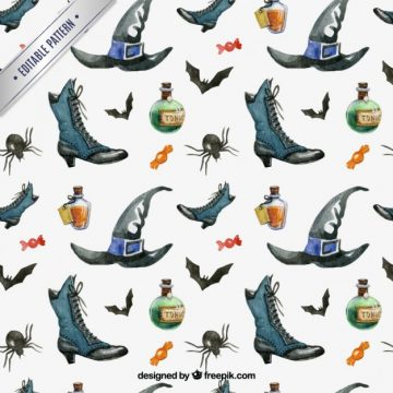 Free vector Watercolor witch elements pattern #25639
