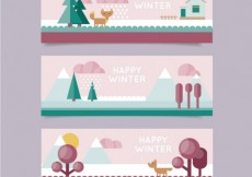 Free vector Winter banners set in flat design style #25881