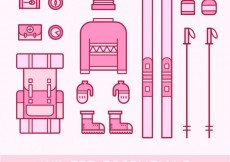 Free vector Winter essentials icons in pink color #25305