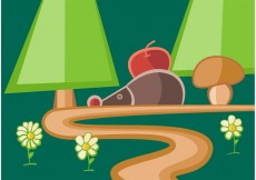 Free vector Woodland Path With Hedgehog Vector #22552