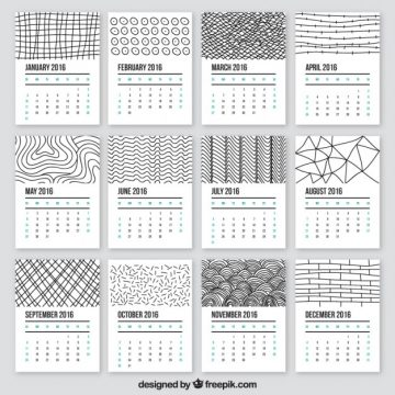 Free vector 2016 calendar in doodle style #29980