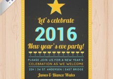 Free vector 2016 party poster in retro style #32046