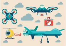 Free vector Airplane and Drone Vector Set #32879