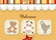 Free vector baby shower card with toys #28697