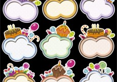 Free vector Birthday frames with cloud shape #33970