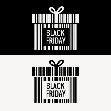 Free vector black friday gift box made with barcode #30789