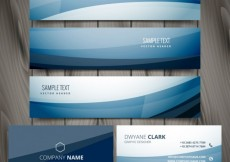 Free vector blue banners and business card #30196