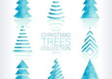 Free vector Blue bokeh christmas trees collection #31102
