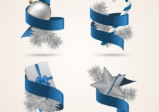 Free vector Blue ribbons and christmas decoration #31792