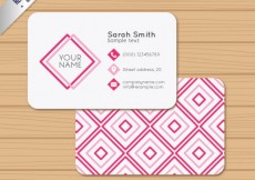 Free vector Business card with pink squares #32665