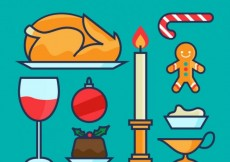Free vector Christmas dinner food #31134