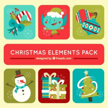 Free vector Christmas elements pack in cute style #29329