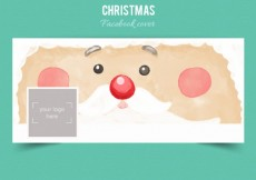 Free vector Christmas facebook cover in watercolor style #33012
