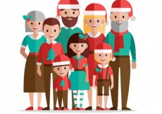Free vector Christmas family in flat design #32944
