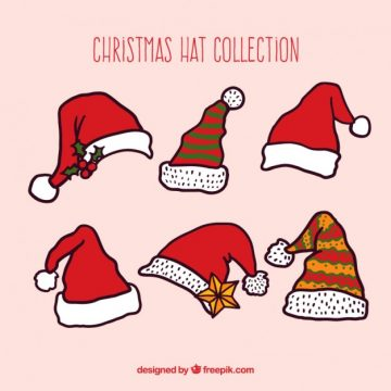 Free vector  Christmas hat collection in hand drawn style #32328
