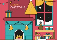 Free vector Christmas room with chimney #31910