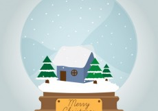 Free vector Christmas Snowglobe with winter landscape #31466