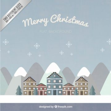 Free vector christmas village background in flat design #34175