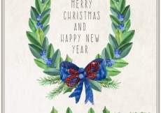 Free vector Christmas wreath with blue loop #31428