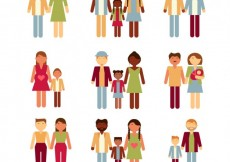 Free vector Collection of colorful flat families #31216