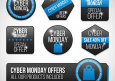 Free vector Collection of Cyber Monday badges #31275